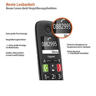 Gigaset E290 Analoges/DECT-Telefon Schwarz Anrufer-Identifikation – Bild 2