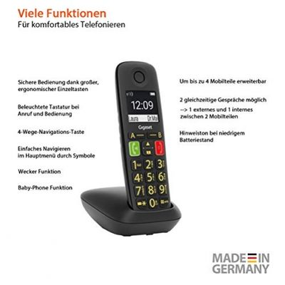 Gigaset E290 Analoges/DECT-Telefon Schwarz Anrufer-Identifikation – Bild 3