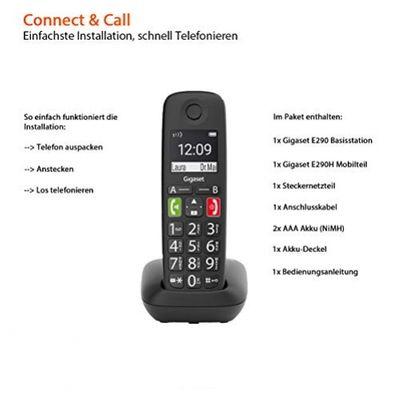 Gigaset E290 Analoges/DECT-Telefon Schwarz Anrufer-Identifikation – Bild 4