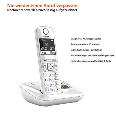 Gigaset AS690A - Schnurlostelefon mit Anrufbeantworter - DECT-Telefon mit Freisprechfunktion, großes Display, große Tasten - Festnetztelefon, white – Bild 1