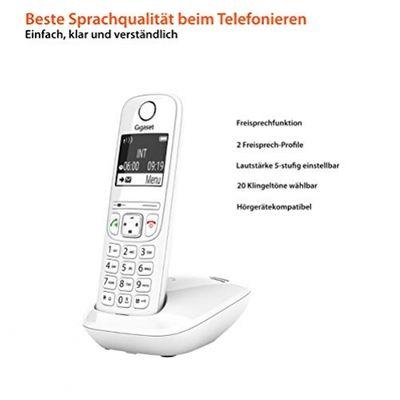 Gigaset AS690 - Schnurlostelefon ohne Anrufbeantworter - DECT-Telefon mit Freisprechfunktion, großes Display, große Tasten - Festnetztelefon, white – Bild 2