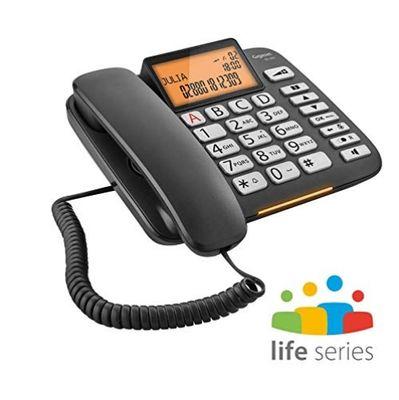Gigaset DL580 - schnurgebundenes Senioren Telefon - Tischtelefon mit extra leichter Bedienung und beleuchtetem Farbdisplay, schwarz – Bild 1