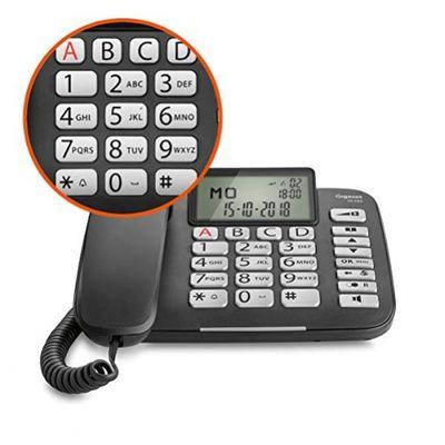 Gigaset DL580 - schnurgebundenes Senioren Telefon - Tischtelefon mit extra leichter Bedienung und beleuchtetem Farbdisplay, schwarz – Bild 2