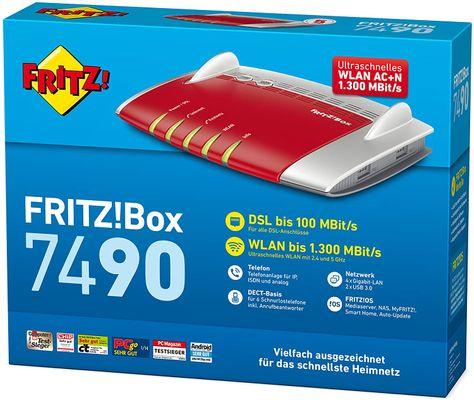 AVM FRITZ!Box 7490 WLAN AC + N Router (VDSL/ADSL, 1.300 Mbit/s (5 GHz), 450 Mbit/s (2,4 GHz), DECT-Basis, Media Server) (Generalüberholt) – Bild 5