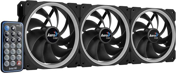 Aerocool Orbit RC - Pack of 3 Fans for PC with RGB Lighting and Remote - Black – Bild 1
