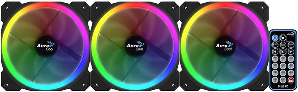 Aerocool Orbit RC - Pack of 3 Fans for PC with RGB Lighting and Remote - Black – Bild 2