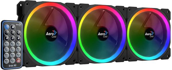Aerocool Orbit RC - Pack of 3 Fans for PC with RGB Lighting and Remote - Black – Bild 3