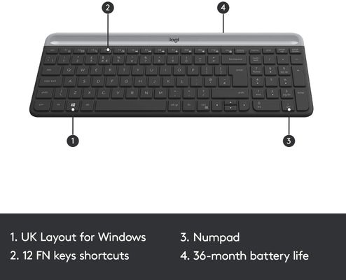 logitech MK470 Slim Wireless Keyboard & Mouse Combo for Windows, 2.4GHz Unifying USB-Receiver, Low Profile (GBR Layout - QWERTY) – Bild 1