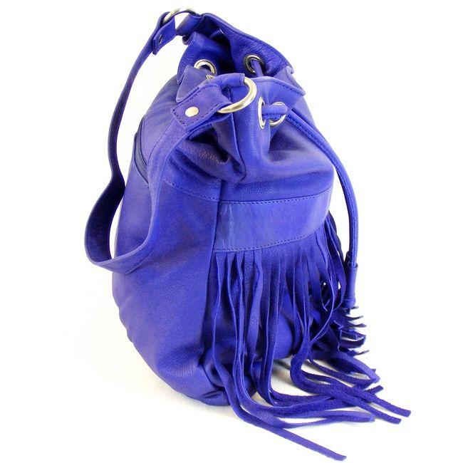 Fashionland Damen Tasche Beuteltasche Leder royalblau 10072 mit Fransen – Bild 4