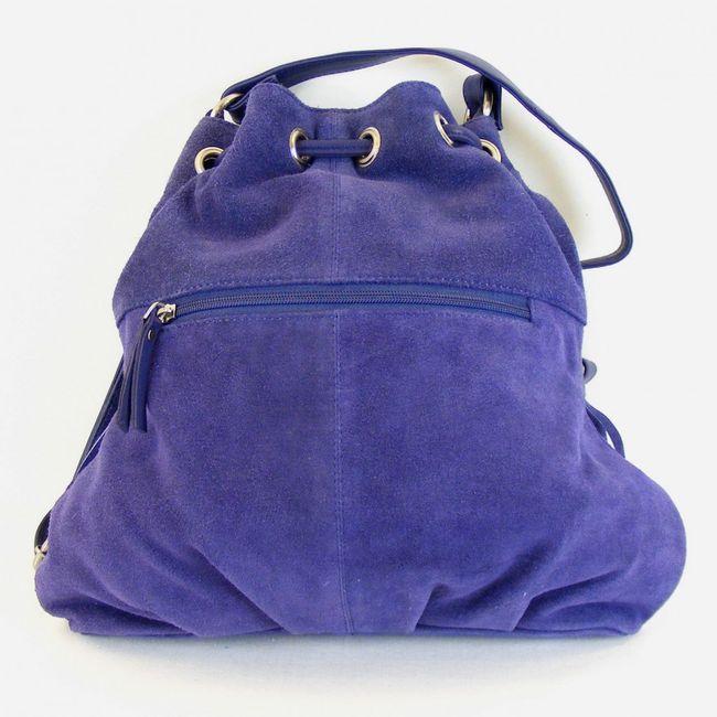 Fashionland Damen Tasche Beuteltasche Velourleder blau 10077 mit Fransen – Bild 3
