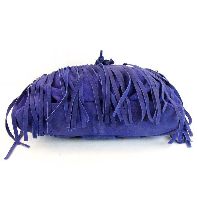 Fashionland Damen Tasche Beuteltasche Velourleder blau 10077 mit Fransen – Bild 5