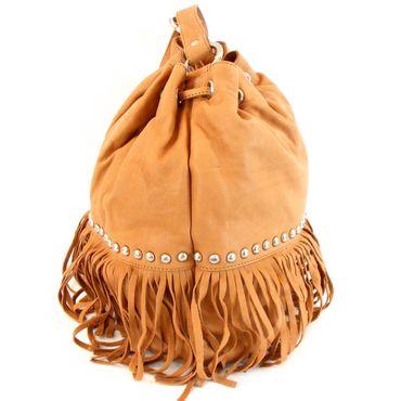 land Damen Tasche in Beutelform Leder cognac 10082 mit Fransen und Nieten Fashion Forms N4uxoixJs