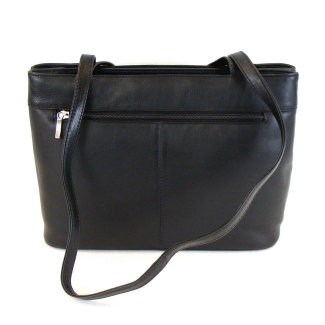 Pavini Damen Tasche Shopper Classics echt Leder schwarz 10170 Reißverschluss  – Bild 3