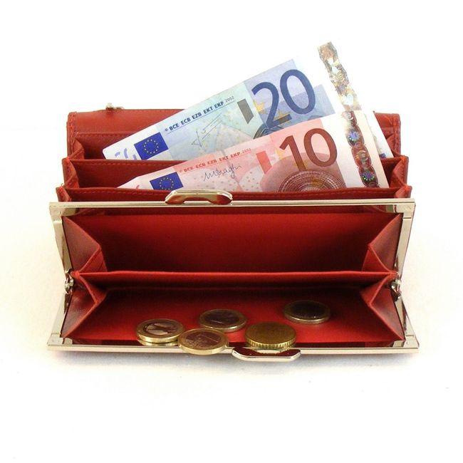 HGL Damen Geldbörse Tafelbörse echt Leder rot 10191 Bügelverschluss RV-Fach – Bild 3