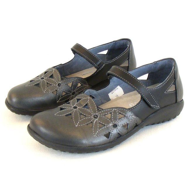 Naot Damen Schuhe Mary Jane Spangenschuhe Toatoa Leder grau/schwarz kombi 10336
