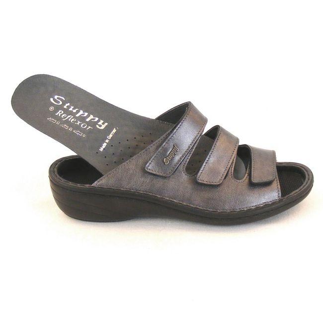 Stuppy Damen Schuhe Pantoletten Leder grau silber 10605 Wechselfußbett  Freizeit – Bild 6
