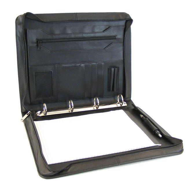 Dermata Schreibmappe Leder schwarz 10911 Rindnappa Collegemappe Sitzungsmappe – Bild 4