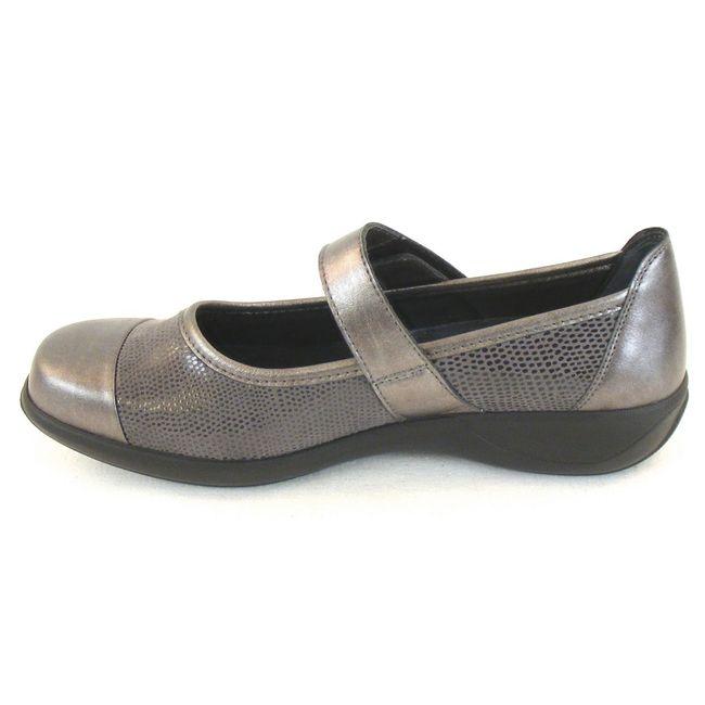 Stuppy Damen Schuhe Mary Jane Spangenschuhe Leder Stretch grau metallic 10957 – Bild 2