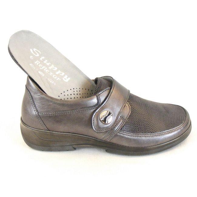 Stuppy Damen Schuhe Halbschuhe Leder Stretch grau metallic 10965 Wechselfußbett – Bild 6
