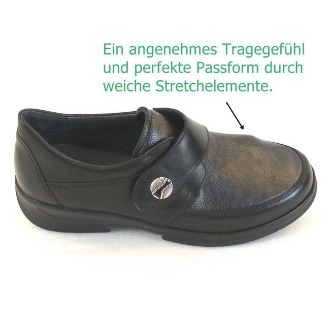 Stuppy Damen Schuhe Halbschuhe Leder Stretch schwarz altsilber 11005 Fußbett – Bild 7