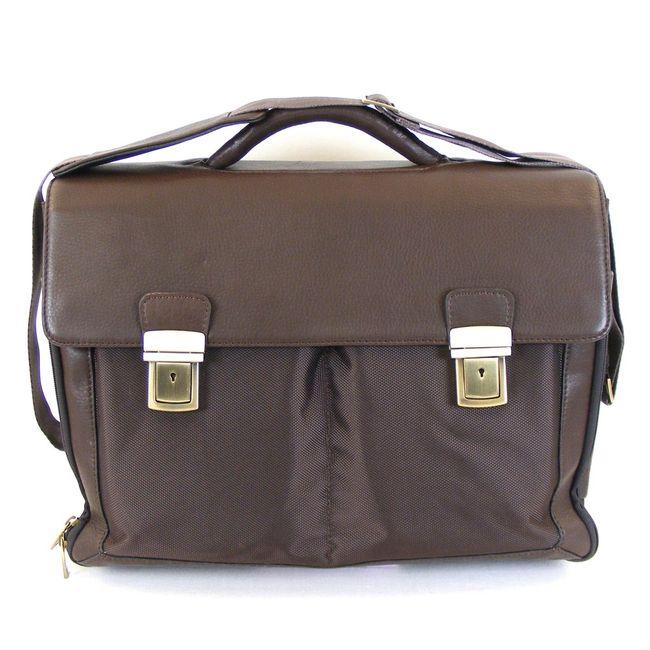 Dermata Aktenmappe Aktentasche mit Laptoptasche Nylon mit Leder braun 11034