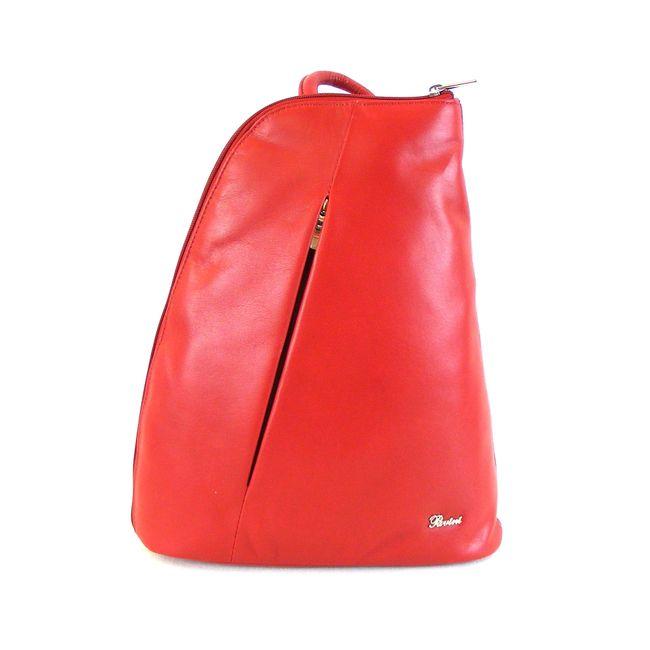 Pavini Damen Tasche Cityrucksack echt Leder rot 11394 Reißverschluss Handyfach