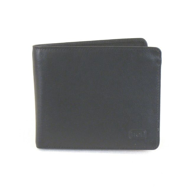 HGL Herren Geldbörse Querformat Leder schwarz 11414 Kreditkartenfach RV-Fach