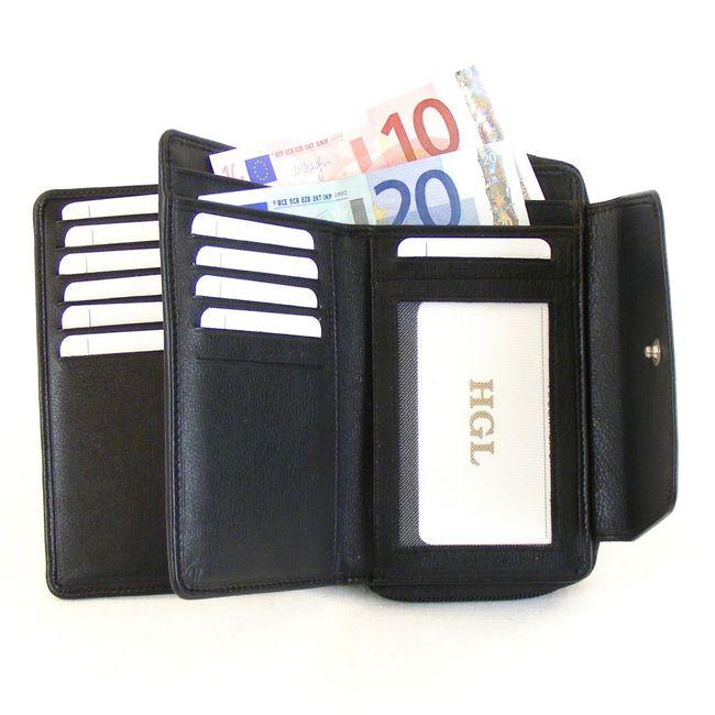 HGL Damen Geldbörse RV-Börse Leder schwarz 11446 Kreditkartenfach Bildfach – Bild 3