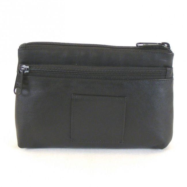 HGL Damen Kosmetiktasche echt Leder schwarz 11460 Reißverschluss Gürtelschlaufe – Bild 2