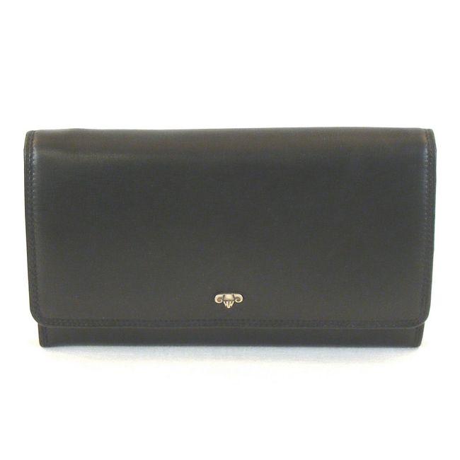 HGL Damen Geldbörse Tafelbörse Leder schwarz 11471 Kreditkartenfach Bildfach – Bild 1