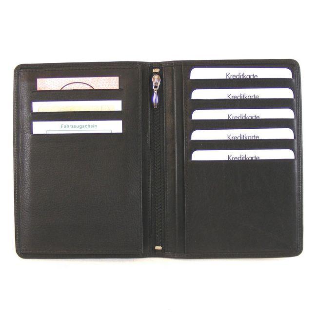 HGL Brieftasche Leder schwarz 11532 Kreditkartenfach Bildfach Steckfach A6-Größe – Bild 3