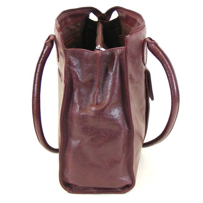 Pavini Damen Shopper Siena echt Leder bordo 12211 Reißverschluss Handyfach  – Bild 4