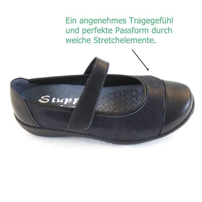 Stuppy Damen Schuhe Mary Jane Spangenschuhe Leder Stretch schwarz 12357 Fußbett – Bild 7