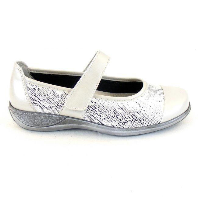 Stuppy Damen Schuhe Mary Jane Spangenschuhe Leder Stretch hellgrau 12364 Fußbett – Bild 4