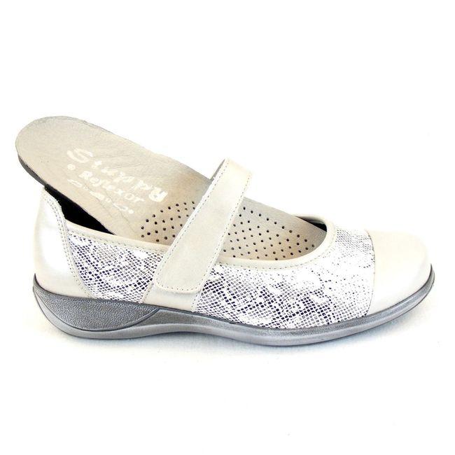 Stuppy Damen Schuhe Mary Jane Spangenschuhe Leder Stretch hellgrau 12364 Fußbett – Bild 6