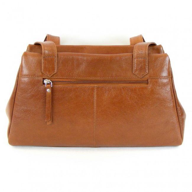 Pavini Damen Tasche Shopper Siena Leder tabak 12418 Reißverschluss Handyfach  – Bild 3