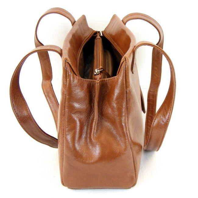 Pavini Damen Tasche Shopper Siena Leder tabak 12418 Reißverschluss Handyfach  – Bild 4
