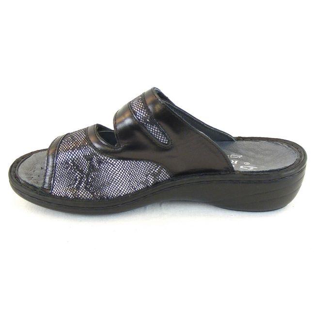 Stuppy Damen Schuhe Pantoletten Leder Stretch schwarz 12454 Wechselfußbett  – Bild 2
