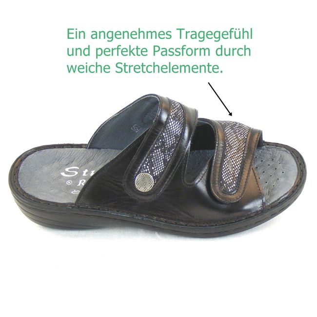 Stuppy Damen Schuhe Pantoletten Leder Stretch schwarz 12454 Wechselfußbett  – Bild 7