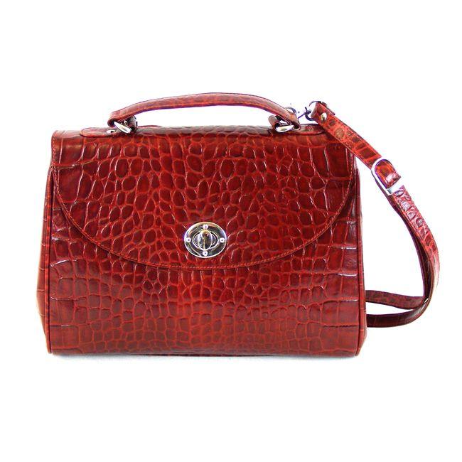 Pavini Damen Tasche Überschlagtasche Croco echt Leder rot 12461 Drehverschluss