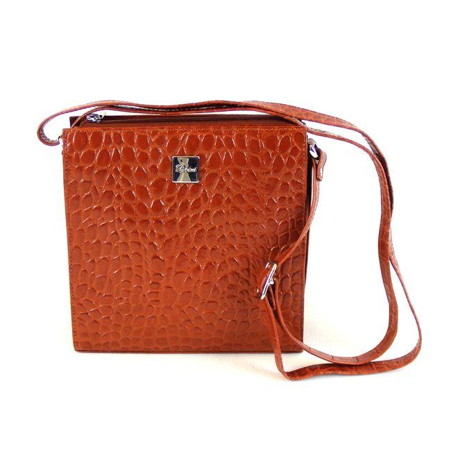 Pavini Damen Tasche Schultertasche Croco echt Leder cognac 12481 Reißverschluss