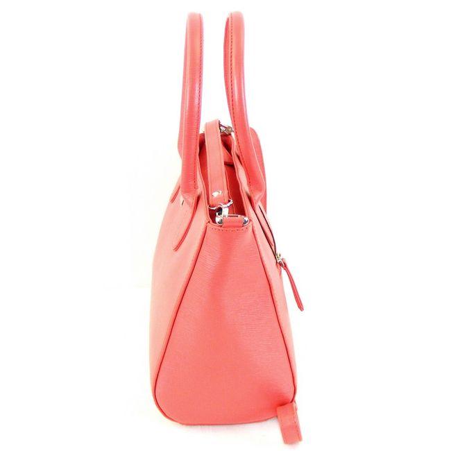 Pavini Damen Tasche Shopper Saffiano Leder pink 12546 Reißverschluss Handyfach – Bild 2