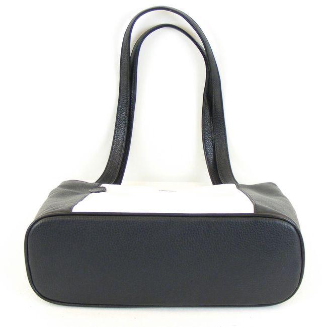 Pavini Damen Shopper Venezia echt Leder weiß schwarz 12629 Reißverschluss  – Bild 5