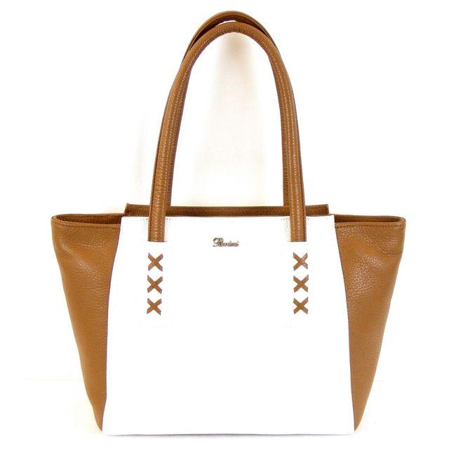 Pavini Damen Tasche Shopper Venezia Echt-Leder weiß natur 12654 Reißverschluss  – Bild 1