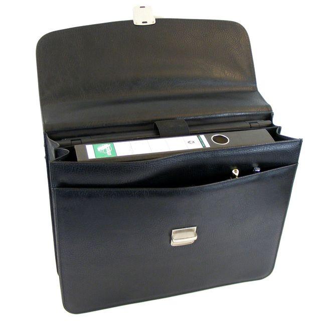 """Dermata Aktenmappe Aktentasche mit Fächern Laptopfach15"""" Synthetik schwarz 12694 – Bild 4"""