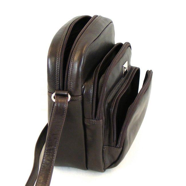 Pavini Damen Tasche Crossovertasche Madrid Leder dunkelbraun 12744 Handyfach – Bild 4