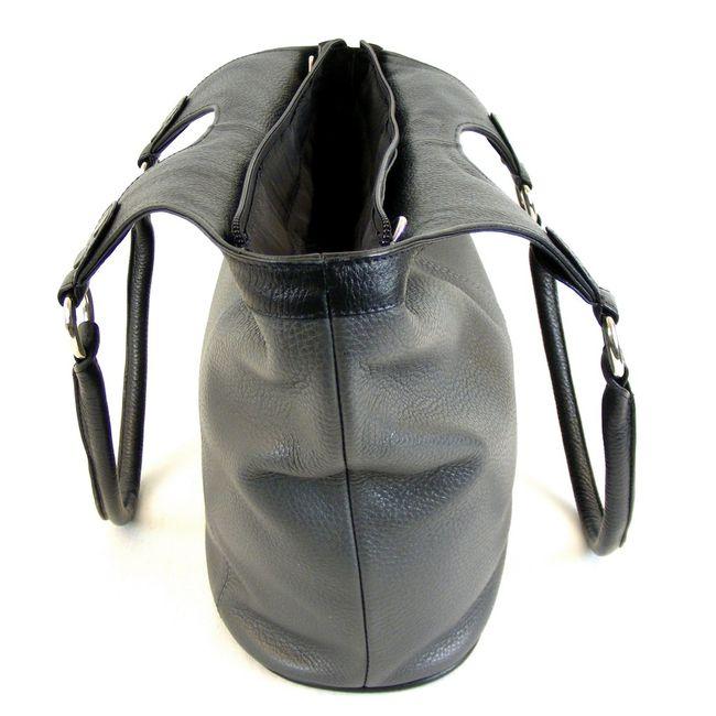 Pavini Damen Tasche Shopper Venezia Leder grau schwarz combi 13286 Handyfach  – Bild 4