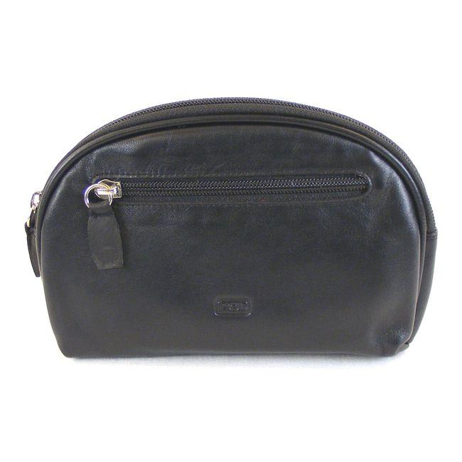 HGL Damen Kosmetiktasche Leder schwarz 13459 Reißverschluss Gürtelschlaufe – Bild 1