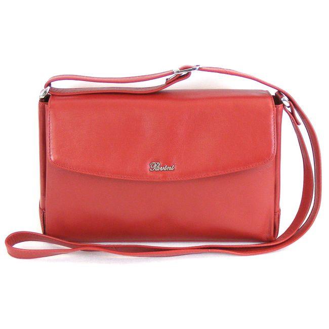 Pavini Damen Tasche Überschlagtasche Classics Leder rot 13491 Magnetverschluss