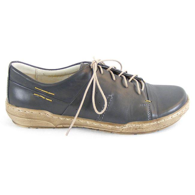 Manitu Damen Schuhe Halbschuhe Schnürschuhe Echt-Leder stein grau Fußbett 13501 – Bild 4
